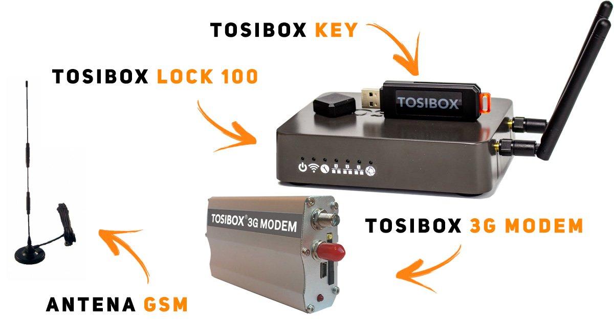 TOSIBOX - zestaw startowy   Tosibox Lock 100 + Key + Modem 3G
