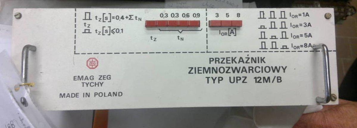 przekaźnik ziemnozwarciowy typ UPZ 12M/B