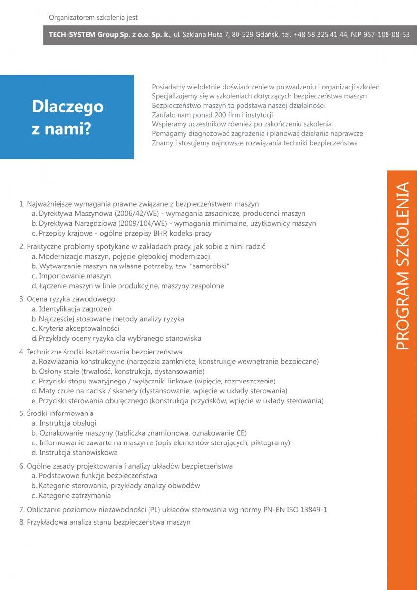 Bezpieczeństwo maszyn - szkolenie - wielka dawka wiedzy - ocena ryzyka aspekty prawne i certyfikacja, analizy sterowania PL/KAT funkcje bezpieczeństwa