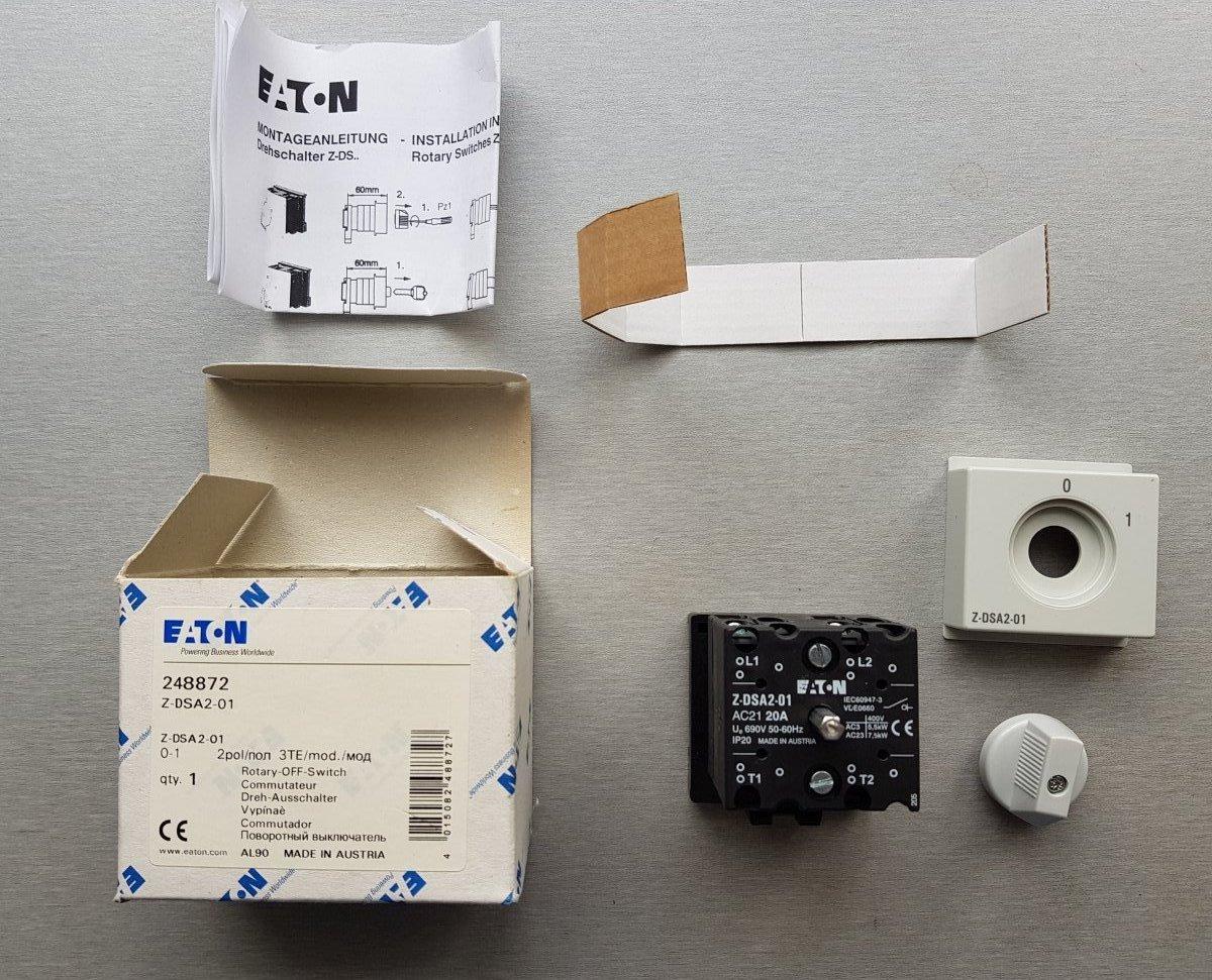 Eaton Przełącznik obrotowy 0-1 20A 2P Z-DSA2-01 248872 - NOWY