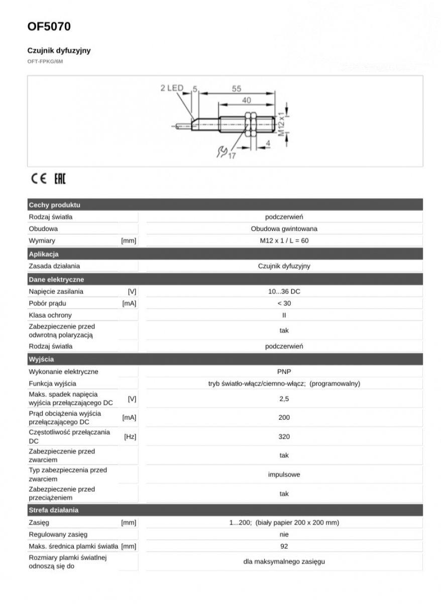 Czujnik dyfuzyjny OFT-FPKG/6M OF5070