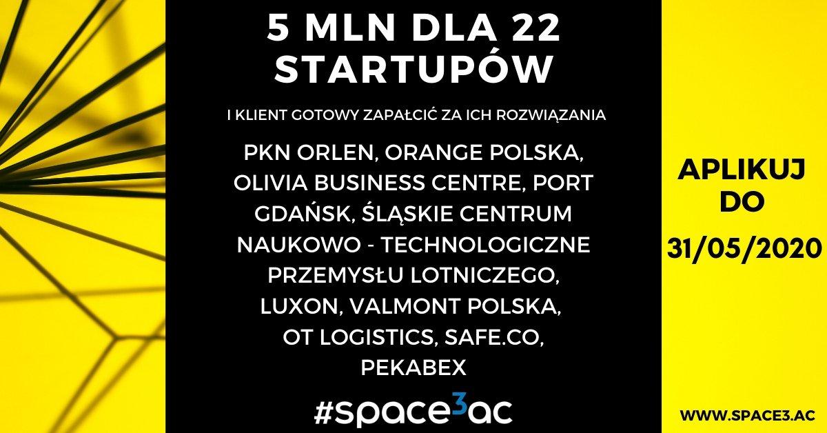 200 000 zł grant dla każdego startupu w akceleratorze Space3ac