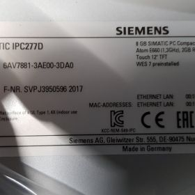 Siemens SIMATIC IPC277D 6AV7881-3AE00-3DA0