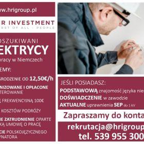 ELEKTRYK / NIEMCY / od 12,50€/godz. + dodatki / OD ZARAZ
