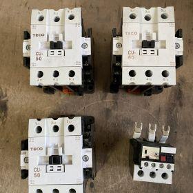 Styczniki TECO CU-50 55A 24VAC 3 szt. + Termik TECO 35-47A